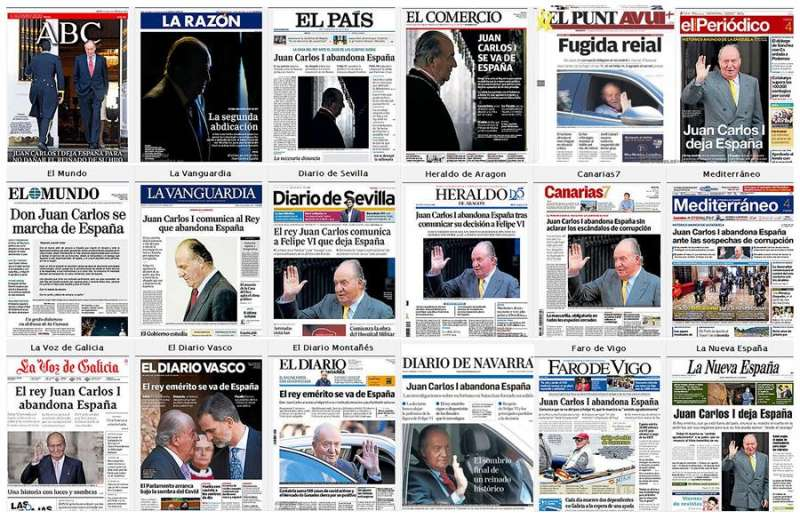 Vista de las portadas de los principales periódicos españoles de este martes, en las que destaca la decisión del rey emérito Juan Carlos I de vivir fuera de España. EFE