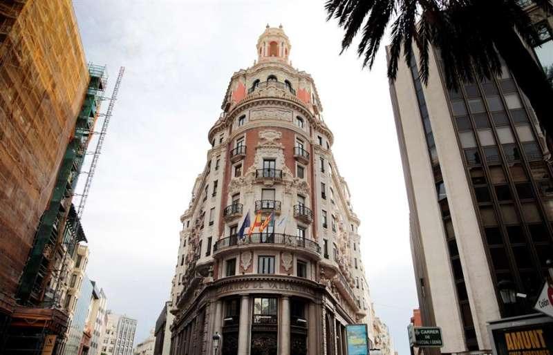 Vista general de la sede de Caixabank donde hoy se presenta el acuerdo de fusión alcanzado entre ambas entidades. EFE