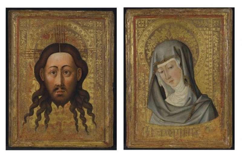 Combo de fotografías del panel español pintado en Valencia en torno a 1450, que representa a Jesucristo (i) y a un rostro de la Virgen (d), y que ha sido adquirido por el museo del Louvre a través de la casa de subastas Christie
