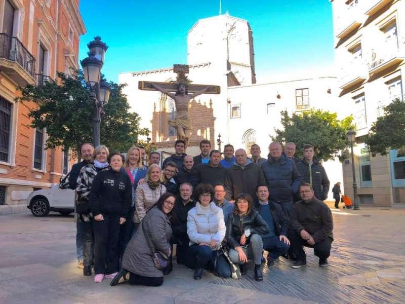 El Cristo con algunos acompañantes en Valencia