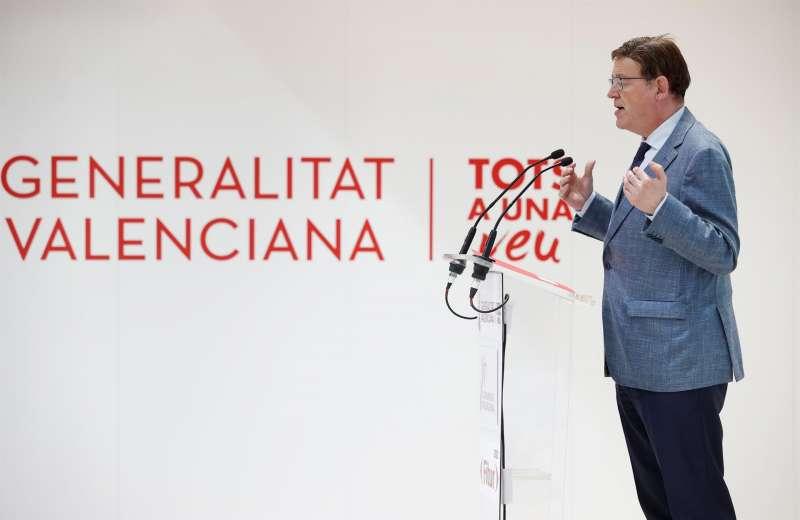 El president de la Generalitat, Ximo Puig, interviene en su visita al expositor de la Comunitat Valenciana en la Feria Internacional de Turismo que se celebra en el recinto ferial de IFEMA, en Madrid.