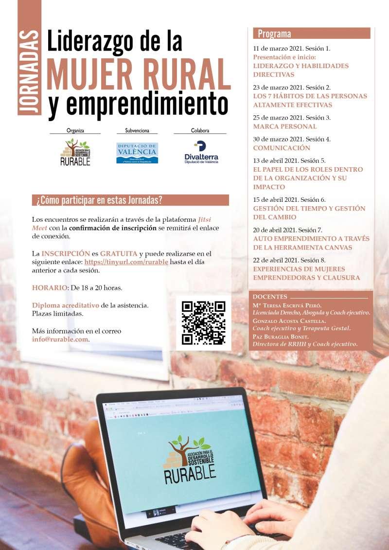 Cartel de la Diputació de València para impulsar las primeras jornadas sobre emprendimiento y liderazgo de la mujer rural