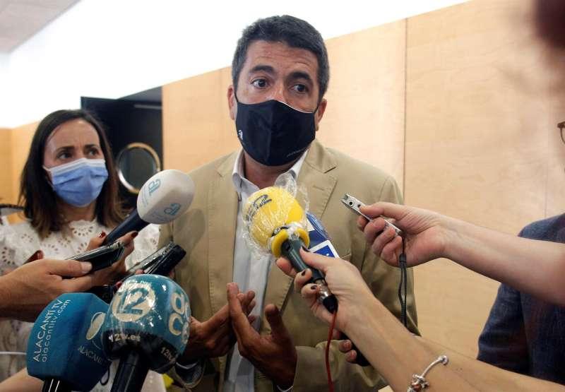 El presidente de la Diputación Provincial de Alicante, Carlos Mazón, momentos antes de la presentación del Estudio de Impacto de la COVID-19 en la Hosteleria y el Plan de Apoyo a la Hosteleria y Ocio de la Provincia de Alicante.