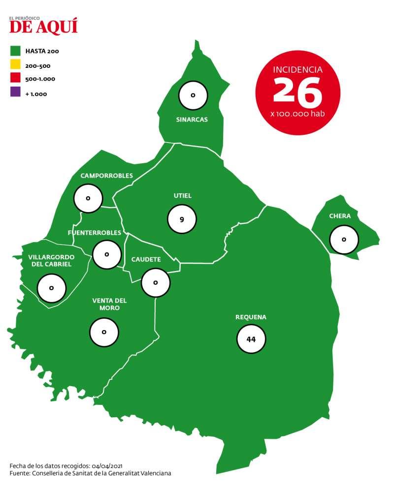 Mapa de incidencia de la comarca según datos de la Conselleria a fecha de 8 de abril de 2021