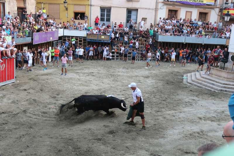 Ferrer recortando al toro que le corneó