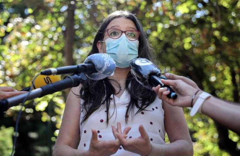 Mónica Oltra, durante las declaraciones que ha realizado este martes. EFE