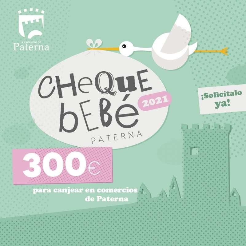Cartel de Cheque Bebé promovido por el Ayuntamiento de Paterna.