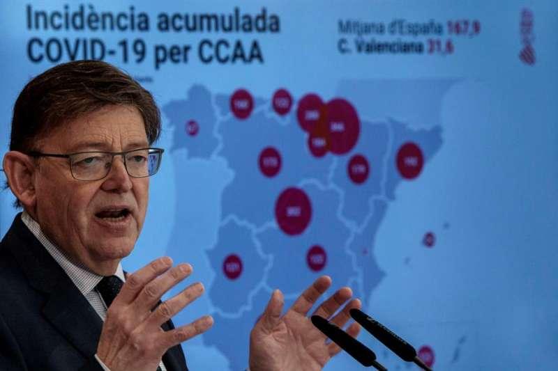 El president Ximo Puig durante la rueda de prensa ofrecida tras la reunión Interdepartamental de la Generalitat para la Prevención y Actuación. EFE / EPDA