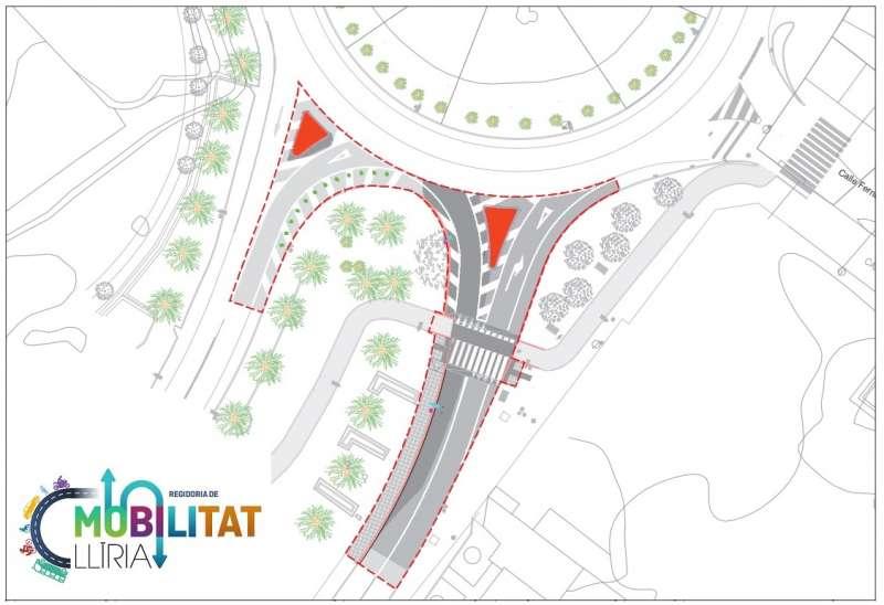 Plano del nuevo acceso a la vía Pla de L