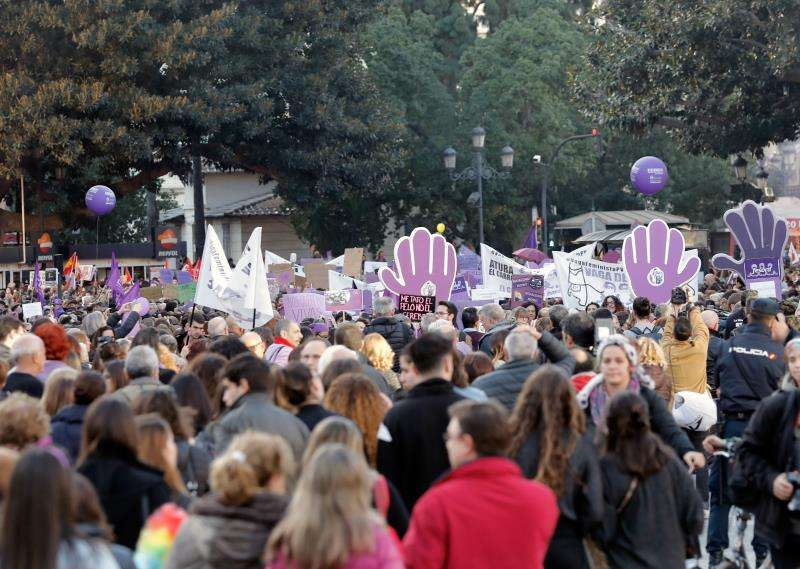 Vista de la manifestación celebrada en 2018 en Valencia con motivo del Día de la Mujer. EFE/Archivo