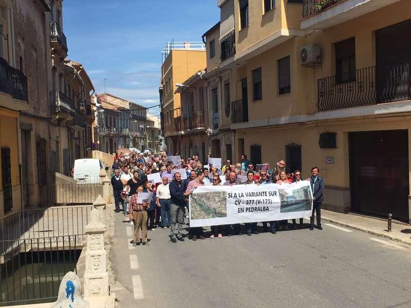 Fotografía de archivo de una manifestación en Pedralba. EPDA.