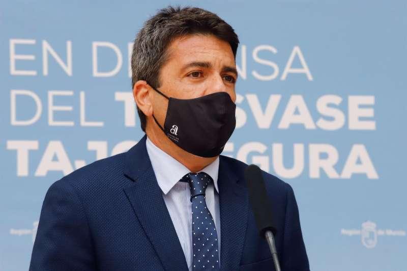 El presidente de la Diputación de Alicante, Carlos Mazón, durante una rueda de prensa.