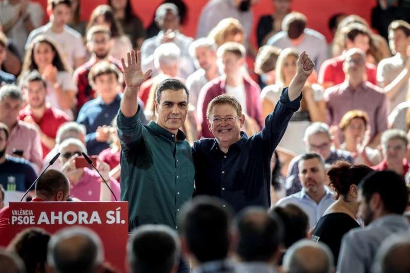 Pedro Sánchez y Ximo Puig, juntos en un mitin.
