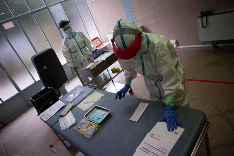 Centro médico durante los registros Covid. EPDA.
