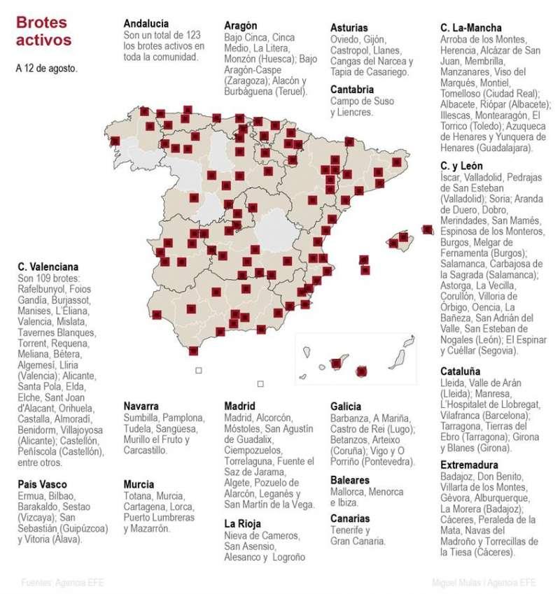 Mapa de los rebrotes en España actualizado. EFE