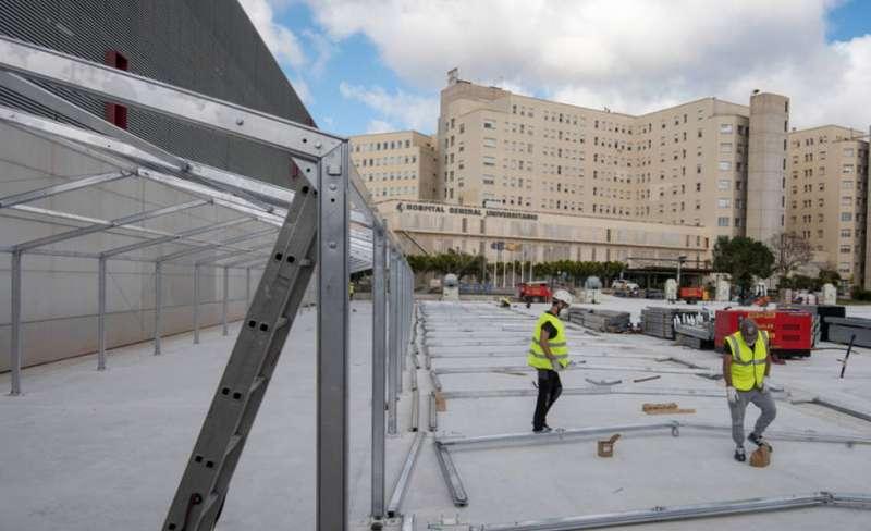 Obras del hospital de campaña