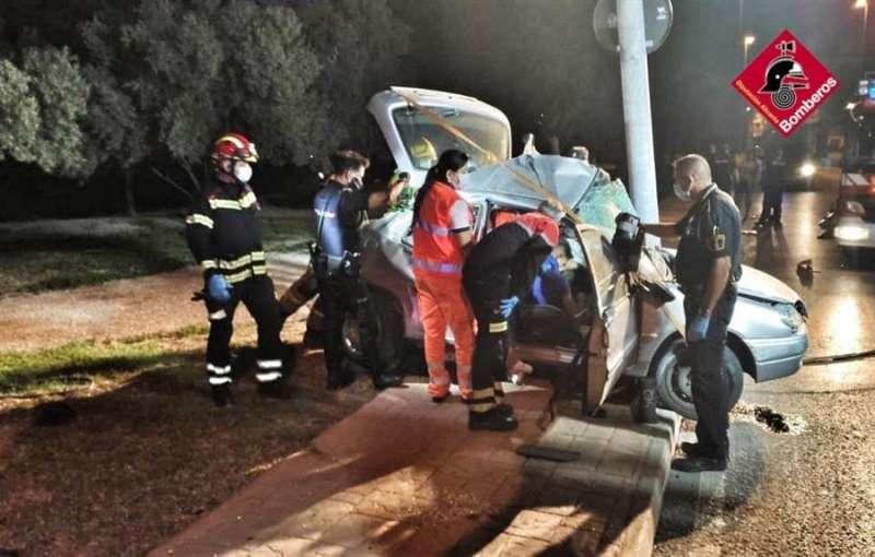 El coche accidentado. EFE