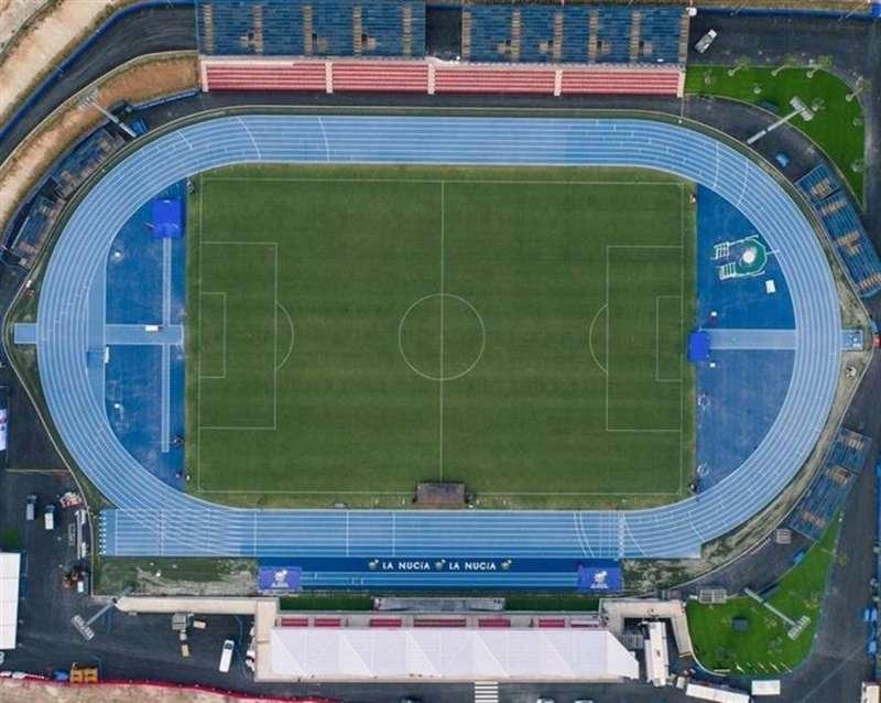 El estado Olímpico Camilo Cano de la localidad de La Nucía (Alicante), en una imagen compartida en redes sociales por el Levante UD.
