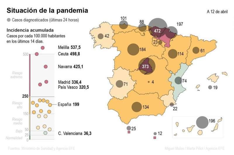 Mapa del coronavirus a 12 de abril. EFE