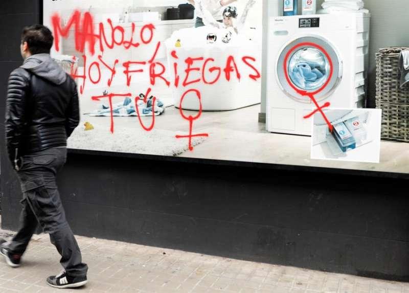 Una pintada en València realizada días antes de la celebración del 8 de marzo de 2018. EFE/ Juan Carlos Cárdenas/Archivo
