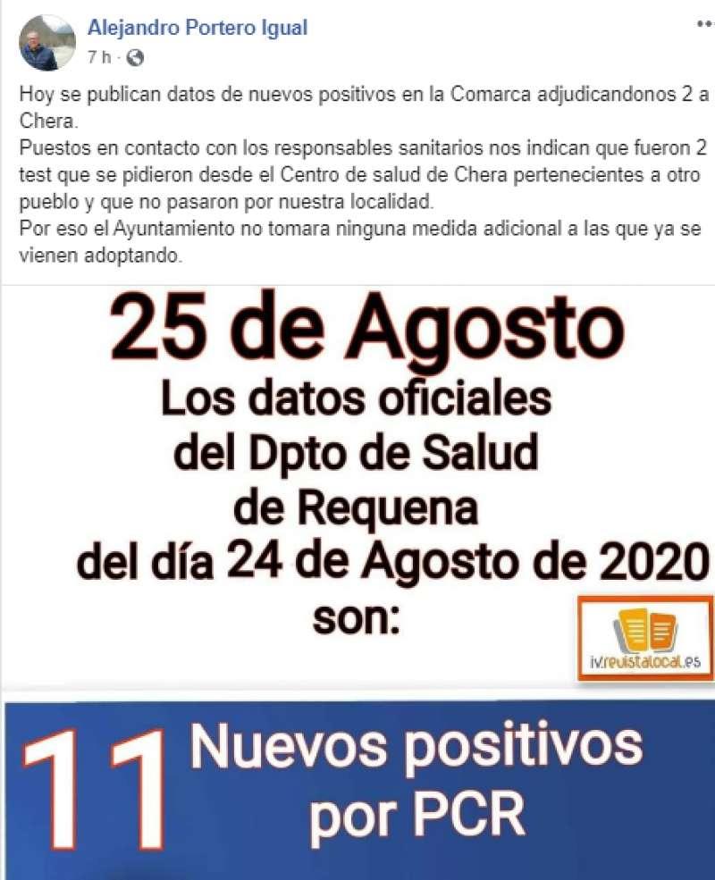 Comunicado del alcalde a través de su Facebook. EPDA.
