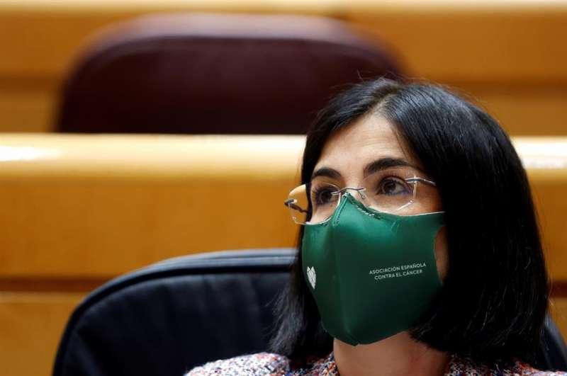 La ministra de Sanidad Carolina Darias, en la sesión de control al Gobierno de este martes en el Senado. EFE