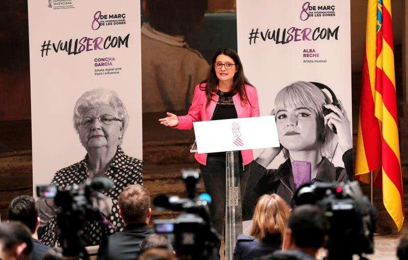 La vicepresidenta del Consell, Mónica Oltra, durante la presentación de la campaña institucional con motivo del 8 de marzo. EFE