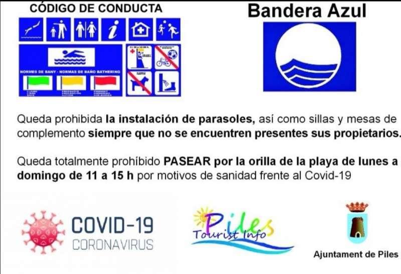 Normas anunciadas por el Ayuntamiento de Piles