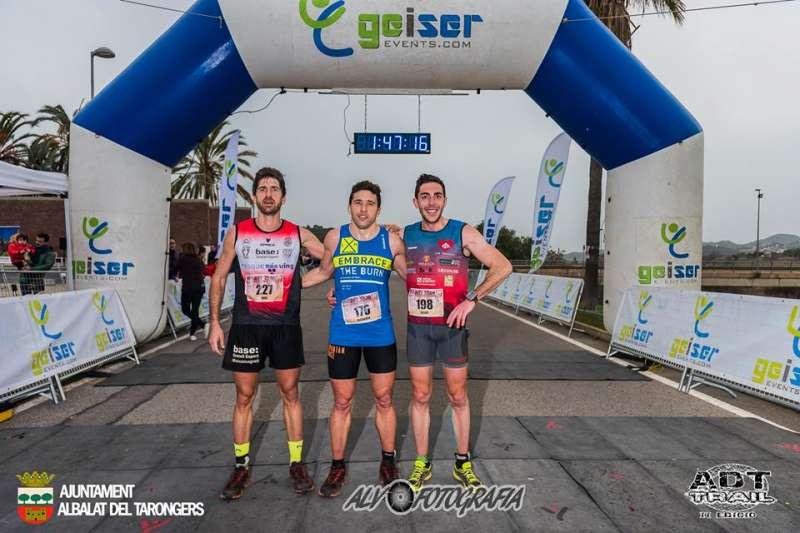 Los tres ganadores absolutos del Trail Albalat dels Tarongers. EPDA