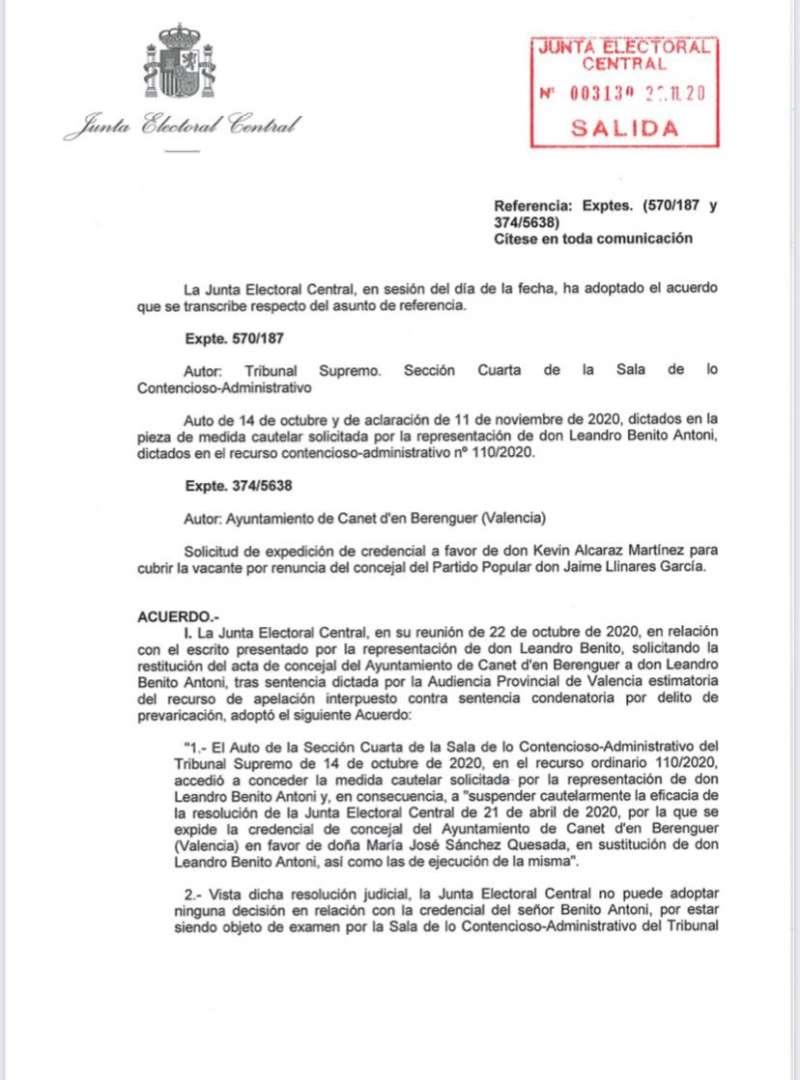 Carta de la Junta Electoral 1.