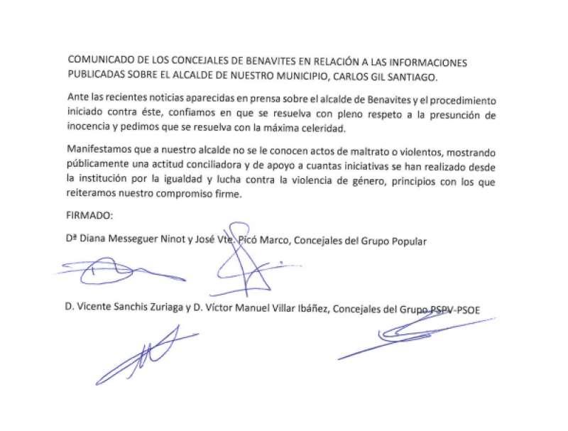 Imagen del comunicado firmado por los concejales. EPDA.