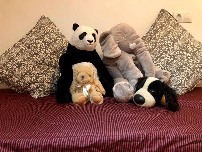 Peluches que Matías y Martín tienen preparados para el niño o niña que van a adoptar, en una imagen de su casa tomada por ellos.