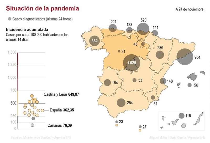 Mapa de contagios en España hasta el lunes. EFE