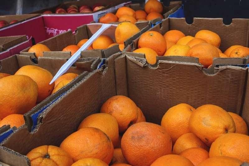 Caja de naranjas importadas.