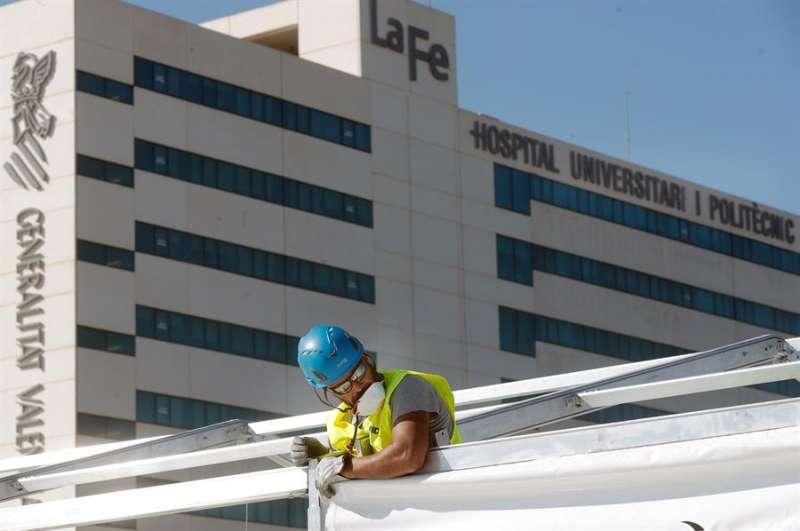 Varios operarios trabajan junto al hospital La Fe. EFE