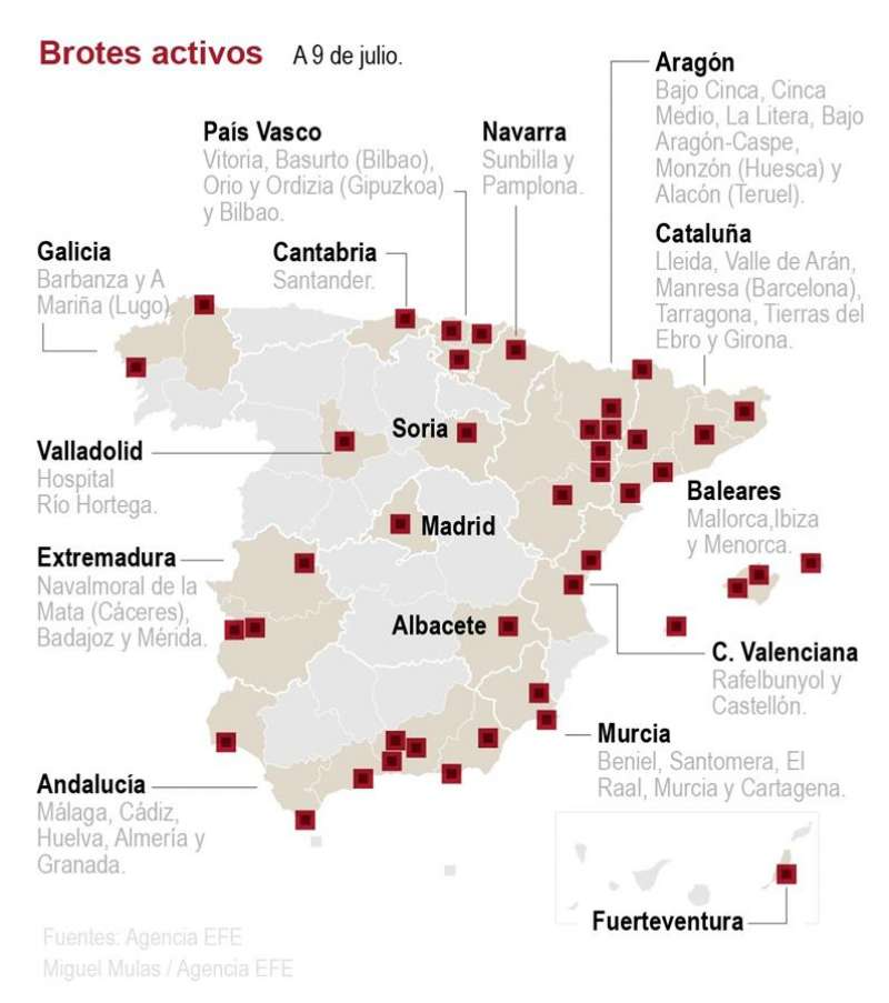 Mapa de los rebrotes de coronavirus en España. EFE