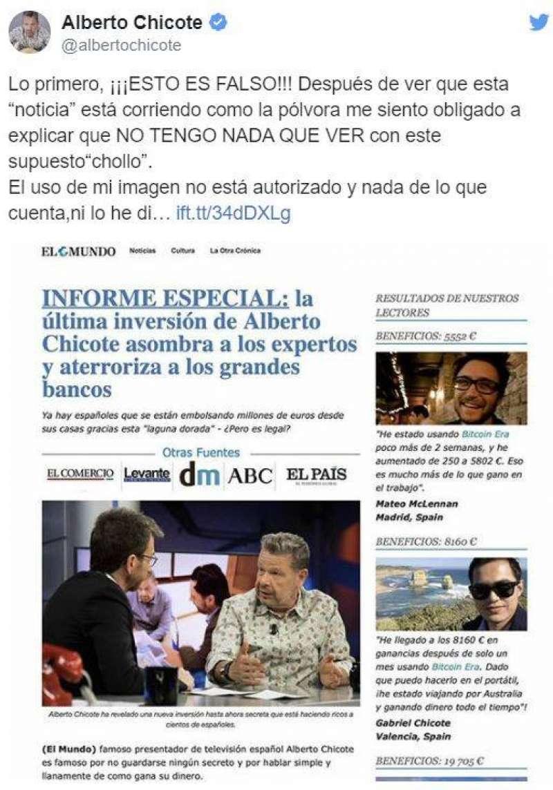 Alberto Chicote alerta de la estafa utilizando su nombre e imagen