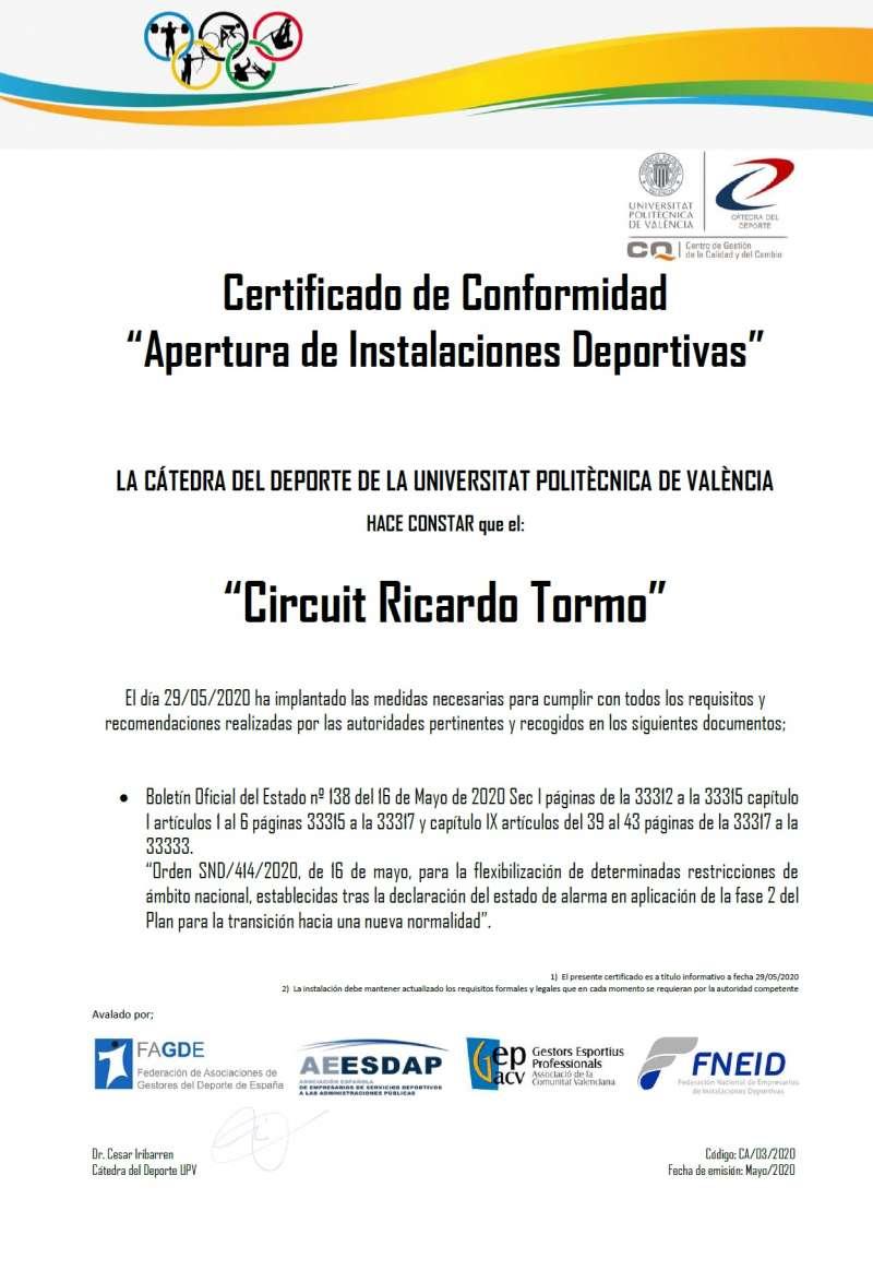 Certificado de la Cátedra de Deporte de la UPV. / EPDA