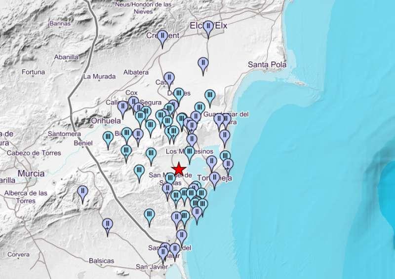 Lugares donde se ha notado el primer seísmo
