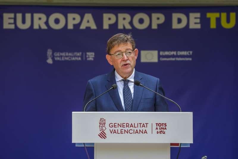 El president de la Generalitat, Ximo Puig, durante la conmemoración del Día de Europa.