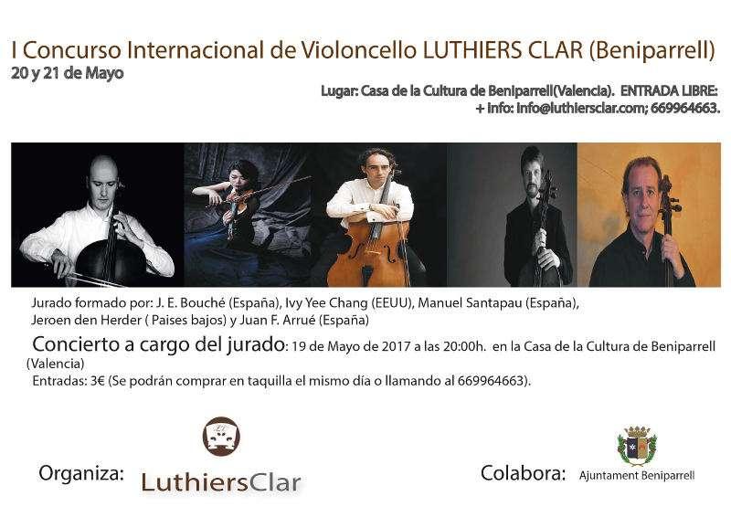 Cartel del I Concurso Internacional de Violoncello Luthiers Clar. EPDA