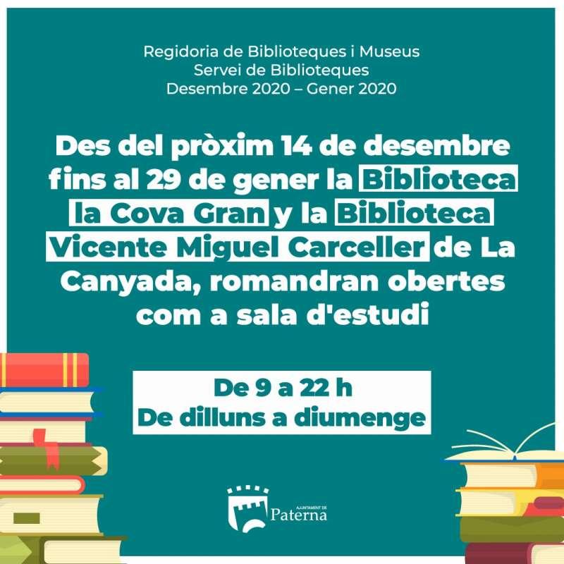 Cartel de ampliacio?n de horarios de las bibliotecas de Paterna. EPDA
