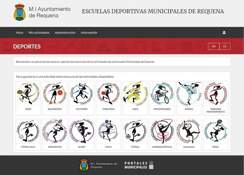 Captura de la página de inscripciones en la web municipal