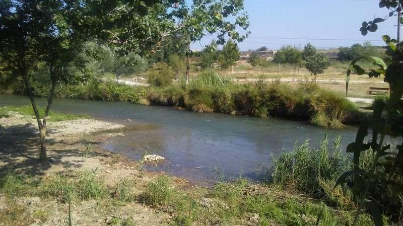 Una imagen del río a su paso por el municipio facilitada por el Ayuntamiento de Ribarroja. / EFE