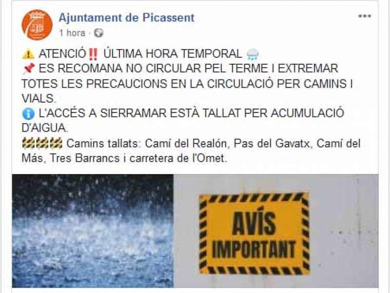 Mensaje del Ayuntamiento en Facebook. EPDA