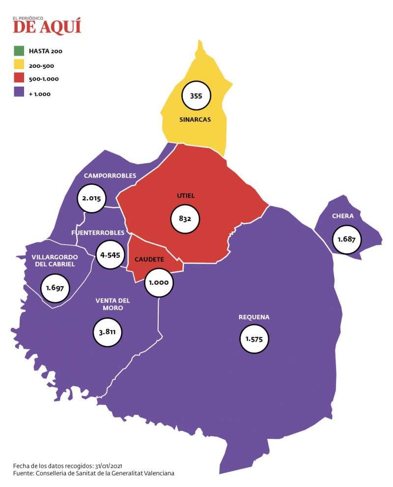 Mapa de Incidencia de positivos en la comarca