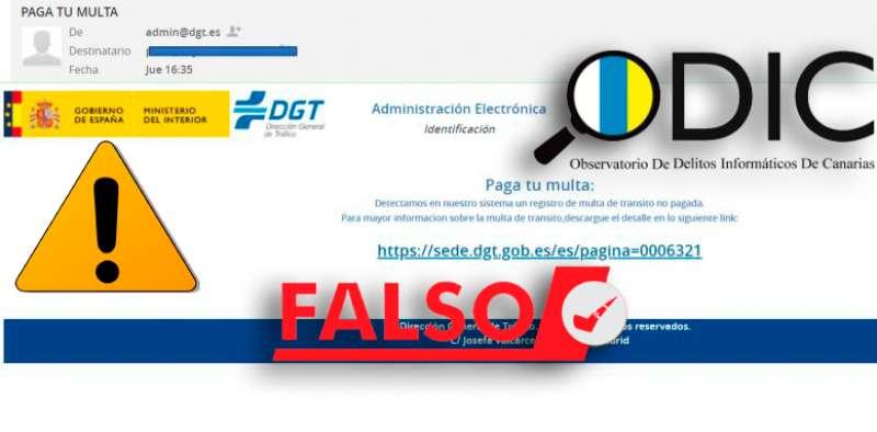 Imagen del email fraudulento. EPDA