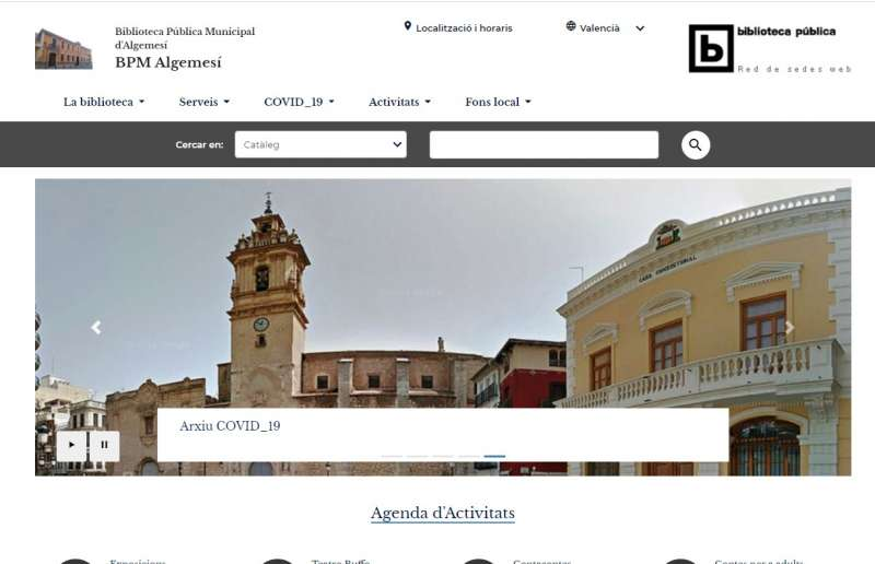 Portal web biblioteca. Foto Ajuntament Algemesí