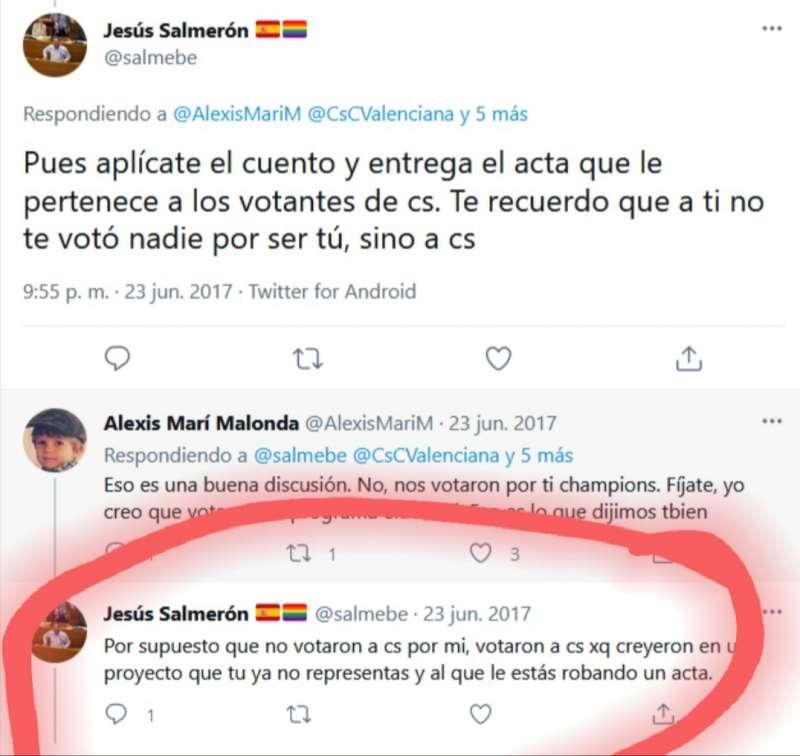 Salmerón recriminó en 2017 a Alexis Marí al pasarse al grupo de no adscritos