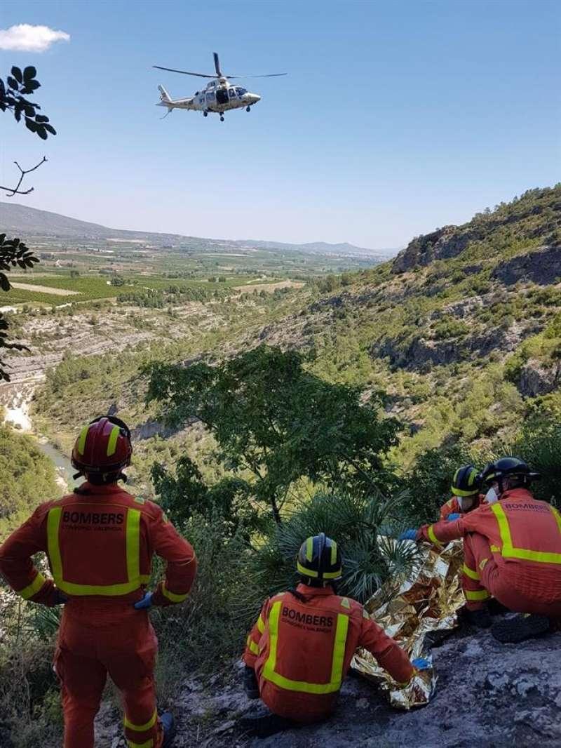 Bomberos del GERA en un rescate.Foto cedida por el Consorcio de Bomberos de Valencia